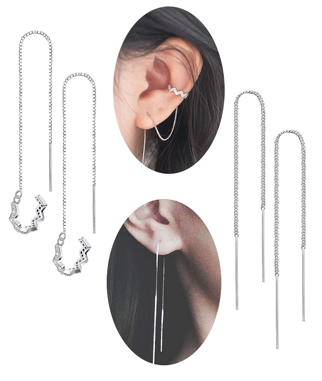 LOYALLOOK Wave Cuff Earrings Wrap Tassel Earrings for Women Threader Earrings 925 Sterling Silver Wave Cuff Earrings 2Pairs LK-M-E0011-2pairs