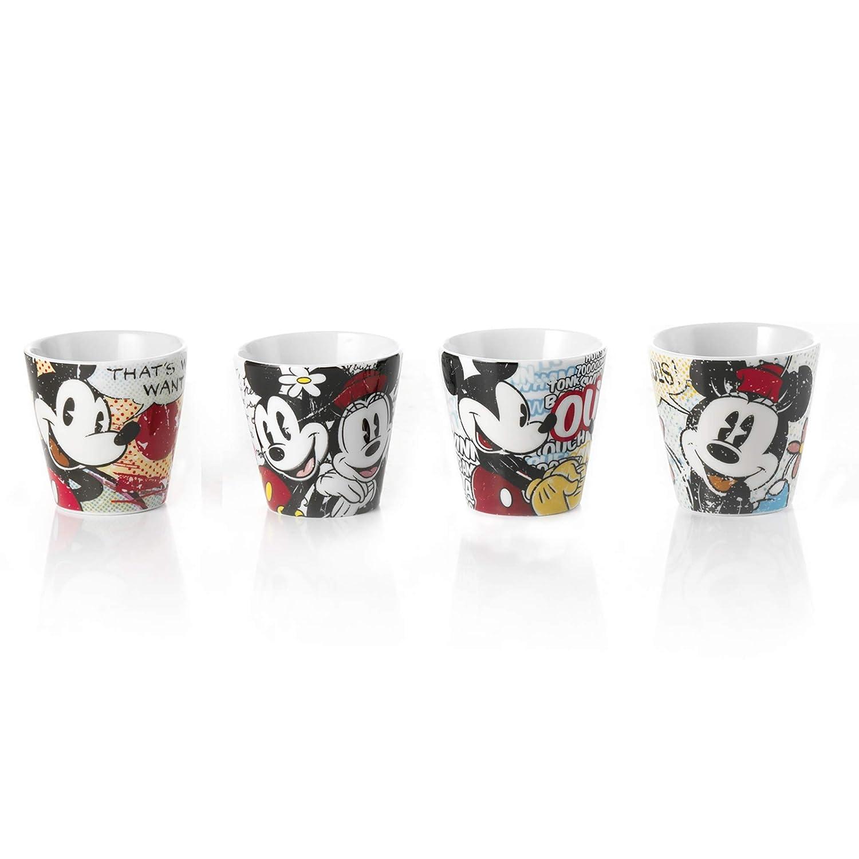 Disney PWM83//4M Juego 4/vasos de caf/é con dise/ño de Mickey y Minnie Mouse