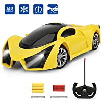 Hony Remote Control Car - 1/16 Scale Yellow Drift Toy Racing, with Led Lights High...