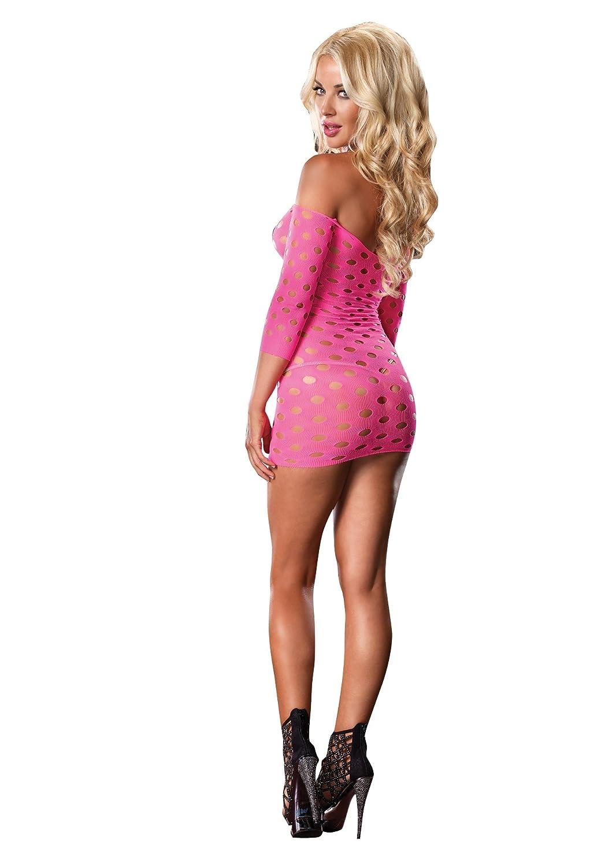 a002c2b8b2 Amazon.com  Leg Avenue Seamless Pothole Mini Dress with 3 4 Sleeve-86579   Clothing