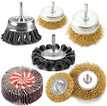 "1//4/"" Shank Drills Grinders 3/"" Knotted Carbon Steel Wire Wheel Brushes Set of 5"