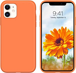 GUAGUA Compatible for iPhone 11 Case Liquid Silicone Soft Gel Rubber Slim Lightweight Microfiber Lining Cushion Texture Cover Shockproof Protective Anti-Scratch Case for iPhone 11 6.1 Inch 2019 Orange