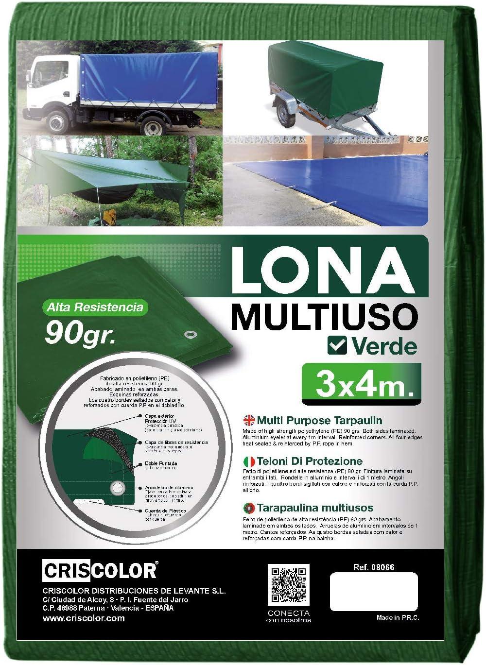 Criscolor 410655 Canvas Multipurpose Green 3x4m