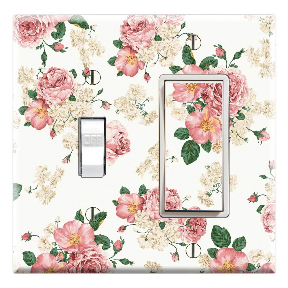 Pink White Flower Pattern Graphics Wallplates Single Toggle Wall Plate Cover