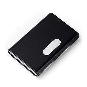 BTLIN 名刺入れ 本革 牛革 角が折れない 名刺ケース 磁気バックル 男女兼用 おしゃれ 贈り物 ブラック