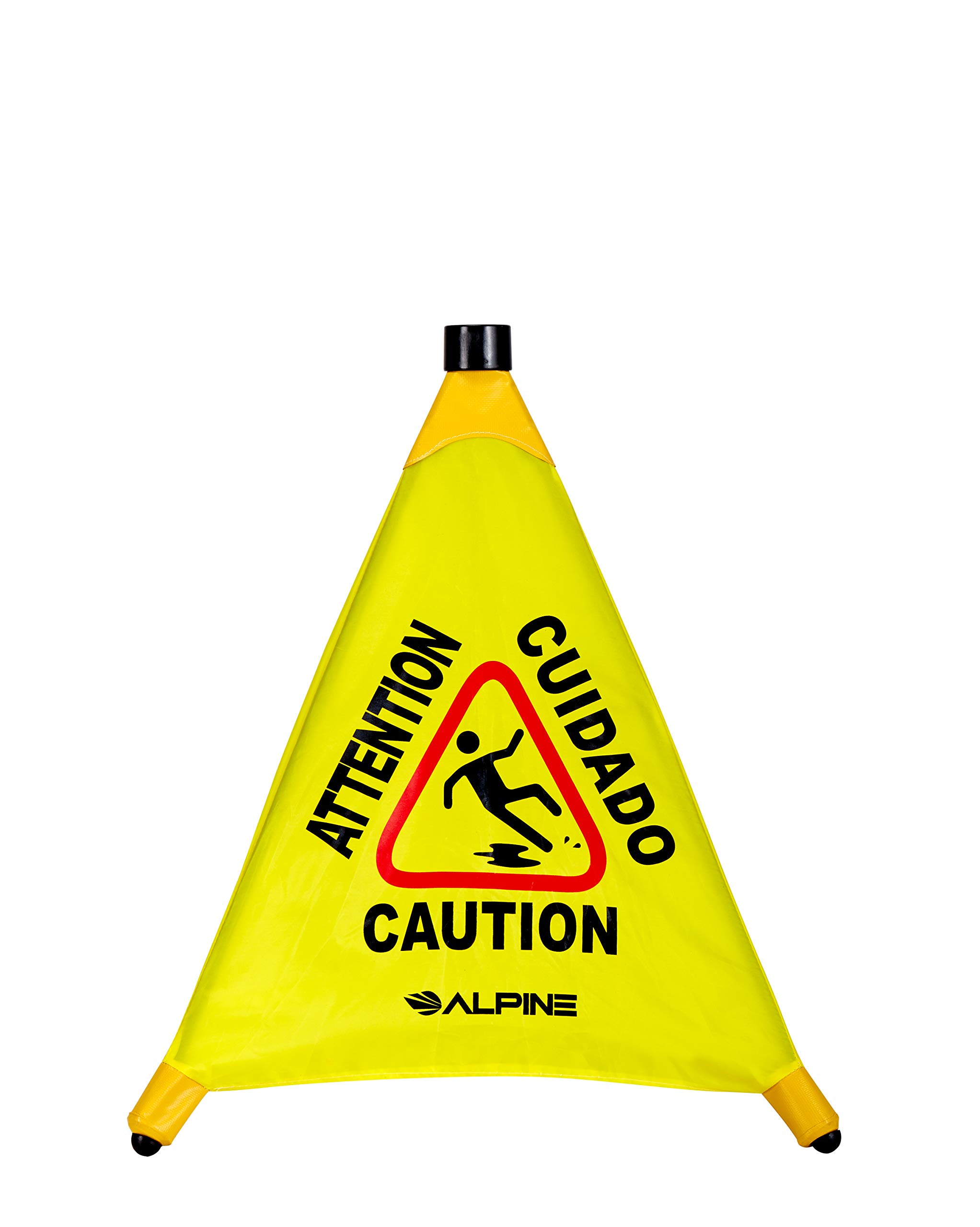 "Alpine Industries 20"" Pop-Up Wet Floor Sign - Portable Three Sided Caution Cone - Slip & Fall Accident Prevention - for Commercial & Office Use"