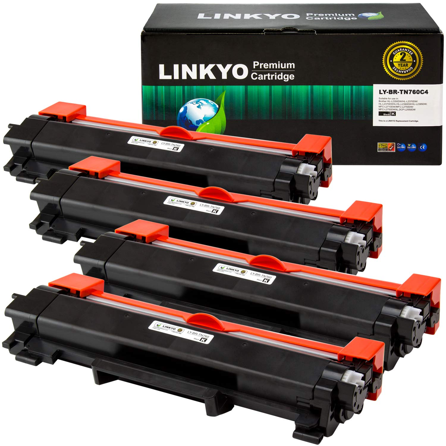 LINKYO Compatible Toner Cartridge Replacement for Brother TN760 TN-760 TN730 (Black, High Yield, 4-Pack)