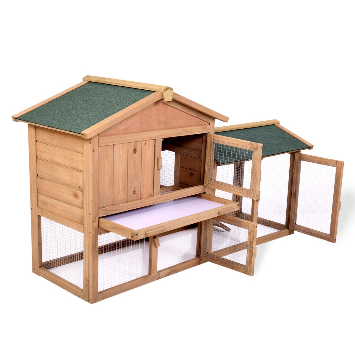 P PURLOVE Wood Bunny Hutch 54'' Large 2 Story Outdoor Bunny House with Removable Tray & Ramp, Backyard Garden Rabbit Cage/Guinea Pig House/Chicken Coop Nesting Box for Small Animals by P PURLOVE (Image #4)