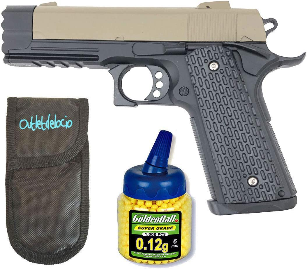 Outletdelocio. Pistola Airsoft Golden Eagle 1911 Strike Warrior. Calibre 6mm + Funda Portabalines + 1000 Bolas. 21993/23054