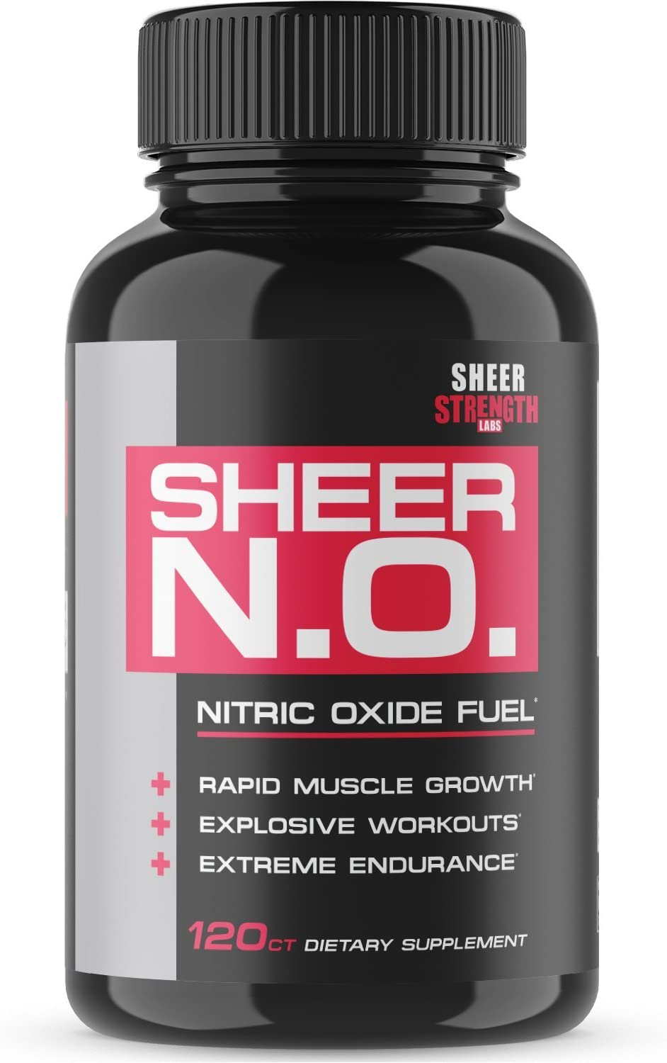 SHEER N.O. Nitric Oxide Supplement – Premium Muscle Building Nitric Oxide Booster with L Arginine – Sheer Strength Labs – 120ct