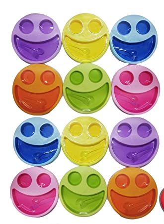 Shopkooky Multicolor Cute Big Smiley Plates For Kids With Fork And Spoon Return Gifts Birthday In Bulk Pack Of 12 Amazonin Toys Games