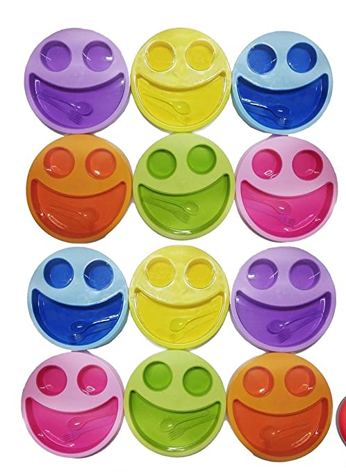 Shopkooky Multicolor Cute Big Smiley Plates For Kids With Fork And Spoon Return Gifts