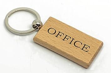 Personalizado rectangular oficina de madera llavero, Laser ...