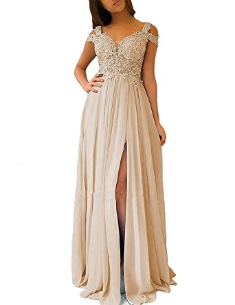 Fanmu Straps Lace Appliqued Side Split Prom Dresses Evening Gownschampagne US 2