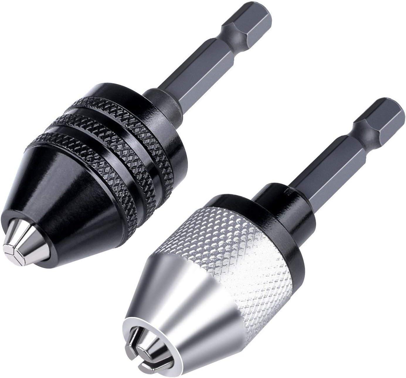 Keyless Adapter Chuck 0.8-10mm Drill Chuck Converter 3//8 24UNF Thread Quick Change Adapter with 1//4 Hex Shank Black