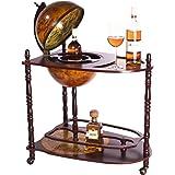Sarahb Riesiger Barwagen 33053 - Tavolino in legno di eucalipto massiccio con rotelle e mappamondo apribile, 100 x 77 cm