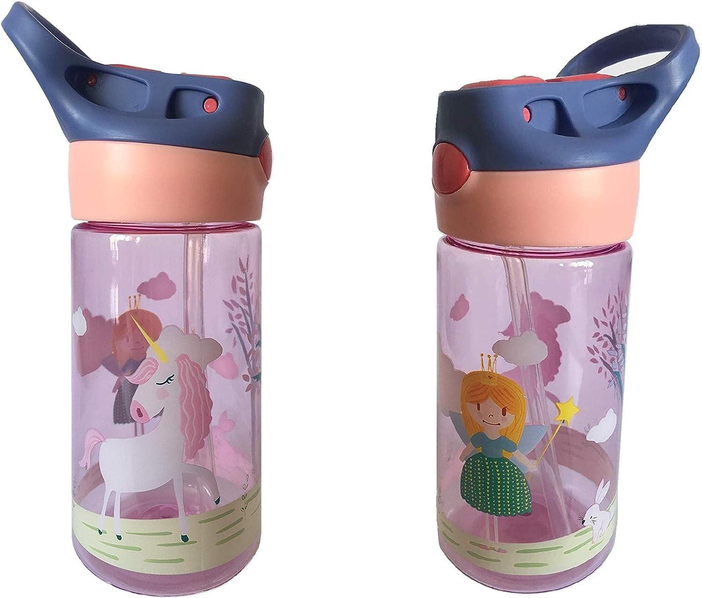 Botella Tritan Reutilizable Ni/ños Bebes ♻ Jarra Reusable con Sistema Antigoteo de 450 ml Material Ligero y Resistente - Sin BPA para Uso Diario y Aprendizaje Infantil Con Pulsador Facil Apertura