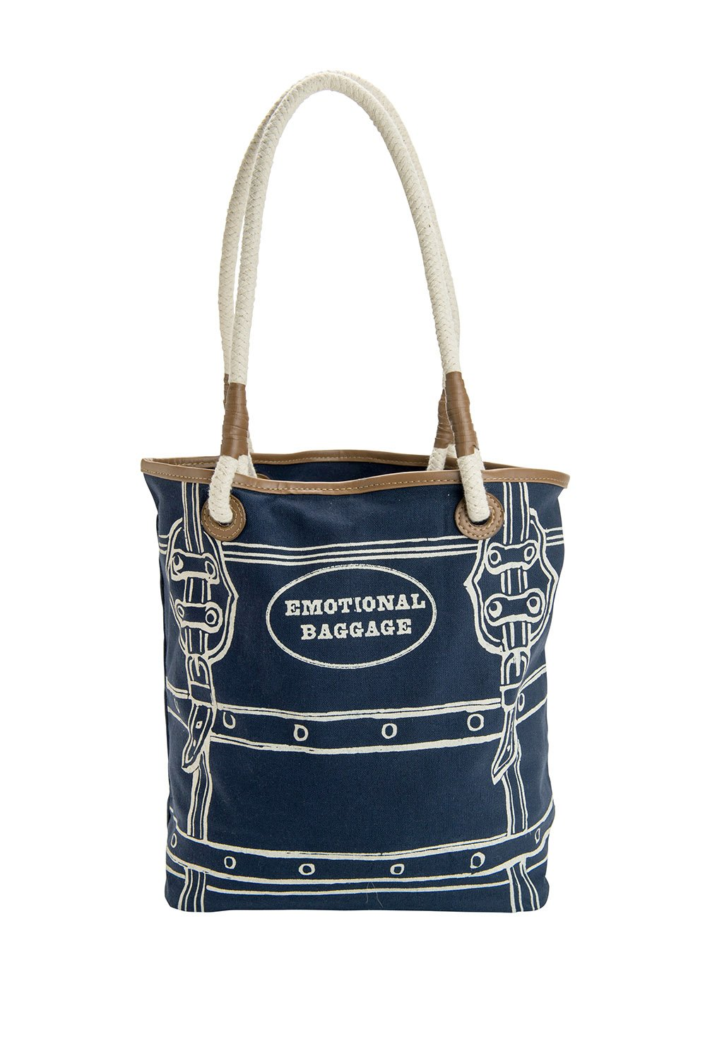 JKC Studios Blue Cotton Canvas Emotional Baggage Tote Bag with Rope Handles, 14.5 by 12-Inch
