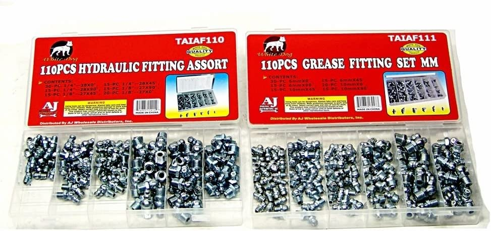 220pc Sae And Metric Hydraulic Grease Zerks Zirks Lube Fitting Assortment