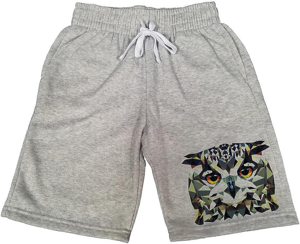 Mens Geometric Owl B180 Gray Fleece Jogger Sweatpants Gym Shorts