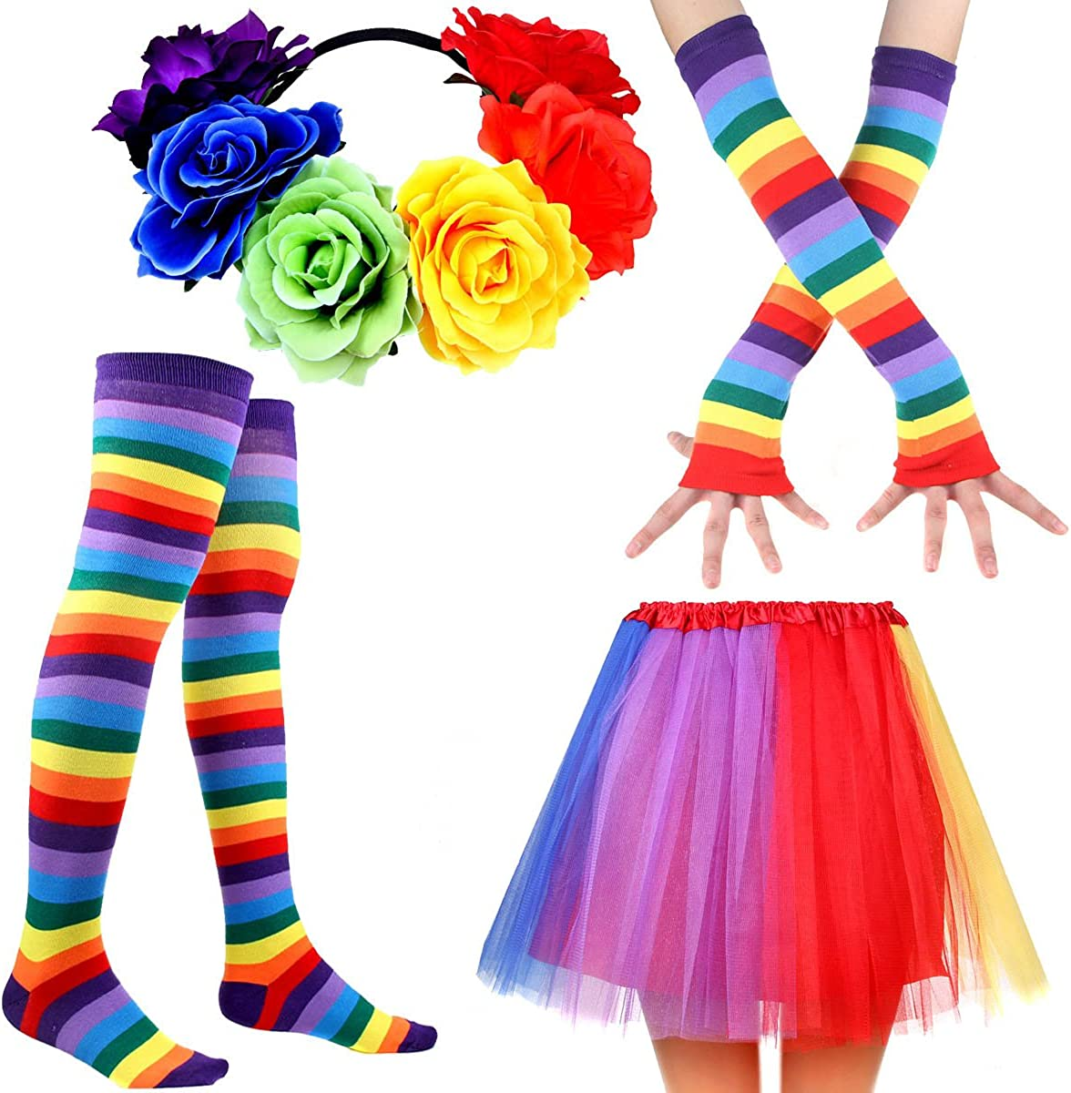 IETANG Womens Rainbow Long Gloves Socks and 3 Layered Tulle Tutu Skirt Party Accessory Set