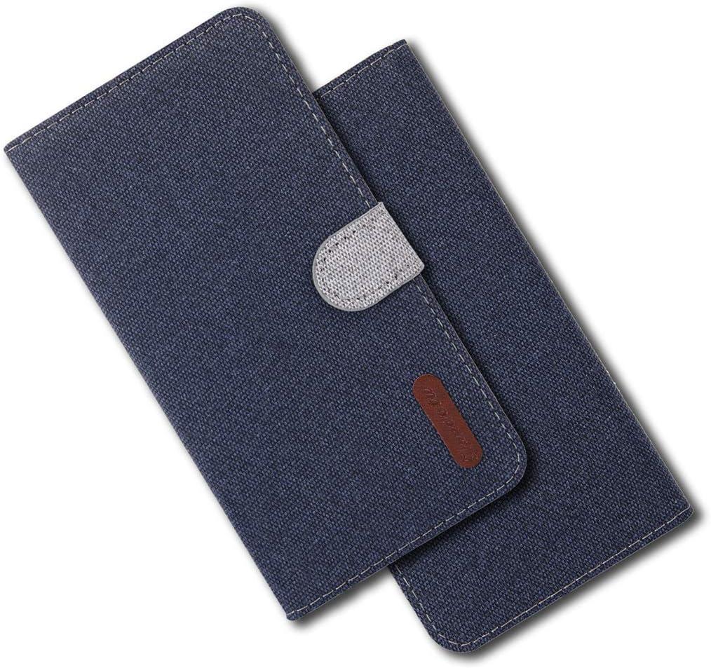 MRSTER Funda para Xiaomi Redmi 5 Plus Carcasa Libro de Cuero Ultra Delgado Billetera Cartera con Función de Soporte Case Flip Cover para Xiaomi Redmi 5 Plus. Cloth Blue