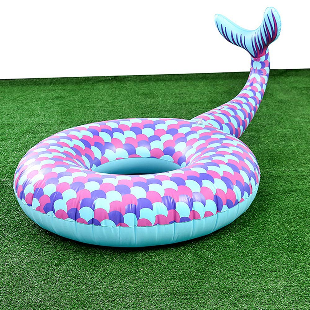 Small Gonut Inflatable Mermaid Swim Ring Swimming Circle Pool Float Ride On Pool Raft Beach Toys Summer Floatie Lounge Water Sport Lie Down Toys for Adults Kids