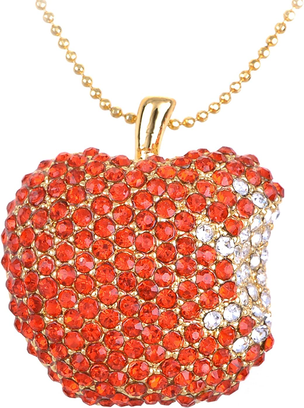 Alilang Golden Tone Red Rhinestones Bitten Apple Fruit Pendant Chain Necklace