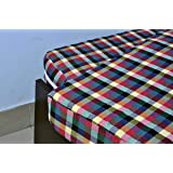 Covet Covers Check Cotton Mattress Cover for Single Bed with Zip(75x48x5-inch, Multicolour) (75x48x5)