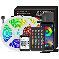 مصابيح شريطية ليد ار جي بي سمارت 65.6 قدم بواي فاي مصابيح سي ملونة 5050 بتقنية فويس وتطبيق تتضمن 24 مفتاح واضاءة تزيين…