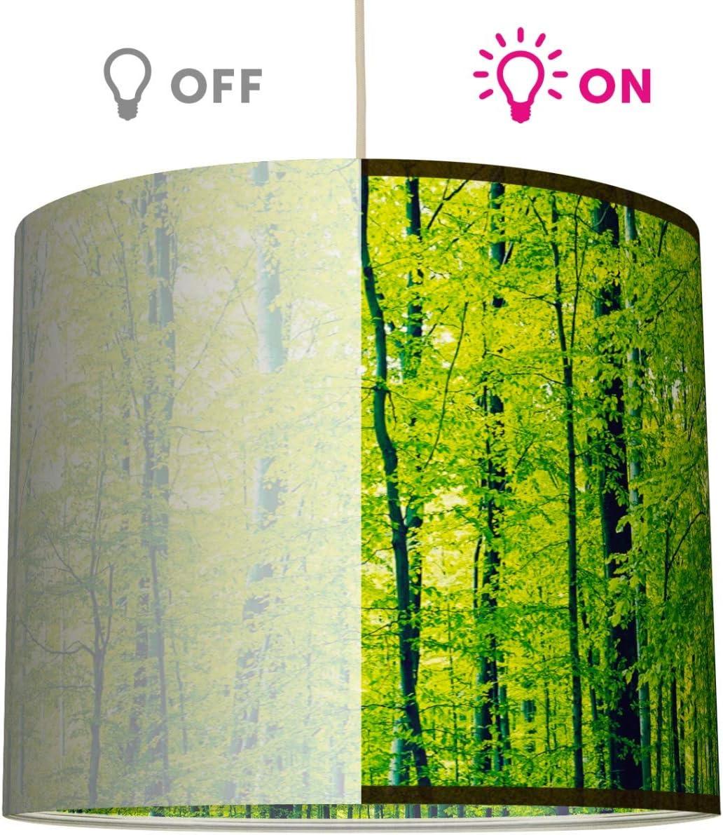 Schirm f/ür Lampen mit Wald-Motiv in Gr/ün anna wand Lampenschirm//H/ängelampe Design GR/ÜNER WALD Sanftes Licht auch f/ür Tischleuchte oder Stehlampe /ø 40 x 34 cm