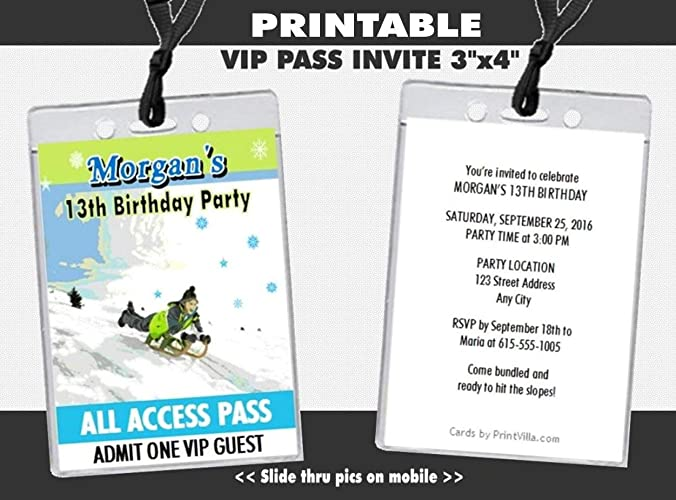 Amazon Com Snow Sledding Birthday Party Vip Pass Invitation