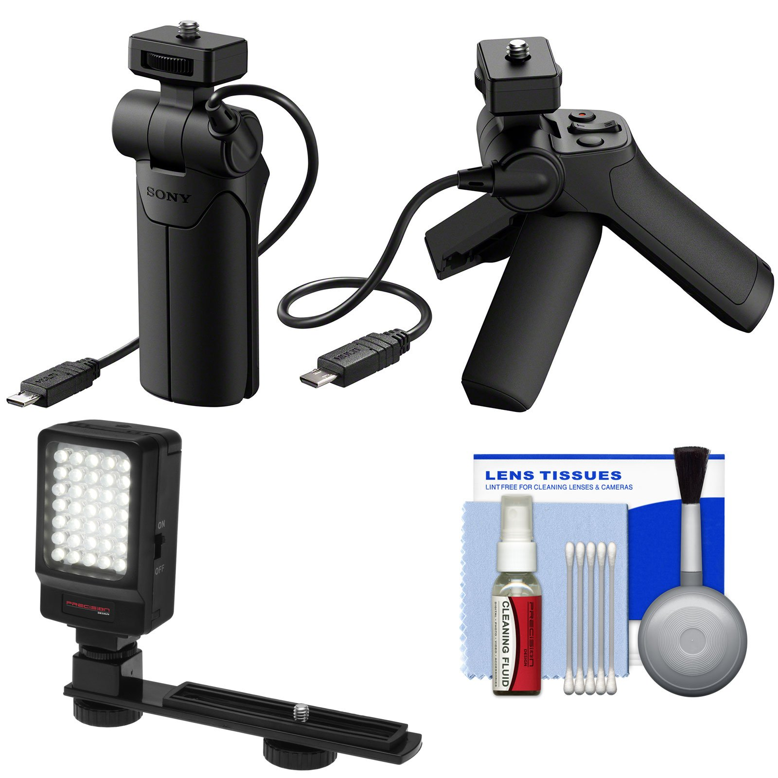 Sony VCT-SGR1 Shooting Grip & Mini Tripod with LED Video Light + Cleaning Kit