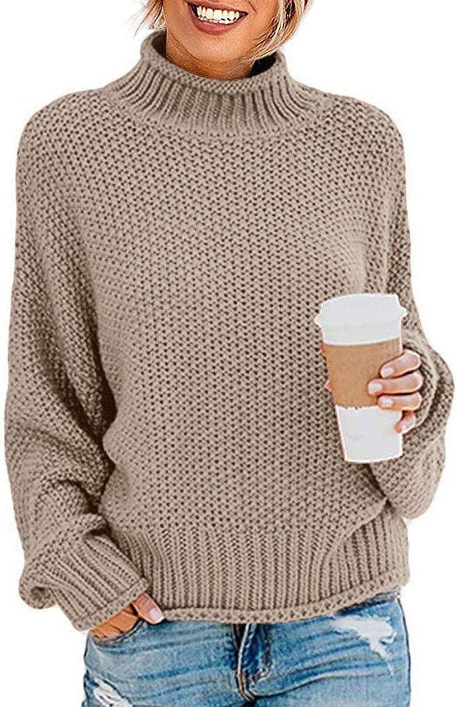 Cream Cable Knit Turtleneck Sweater Loose Sweater high neck sweater Beige jumper waffle sweater Turtleneck Sweater