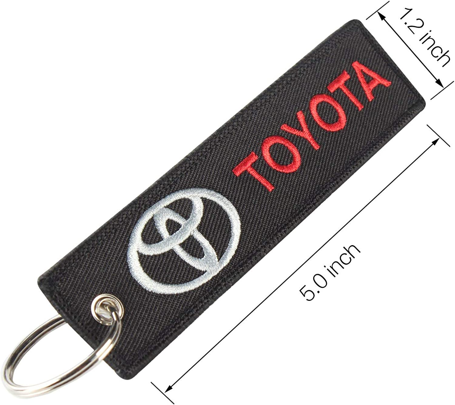 Toyota Black Embroidered Tag Key chain for Automobile Car Racing Key Ring Accessory