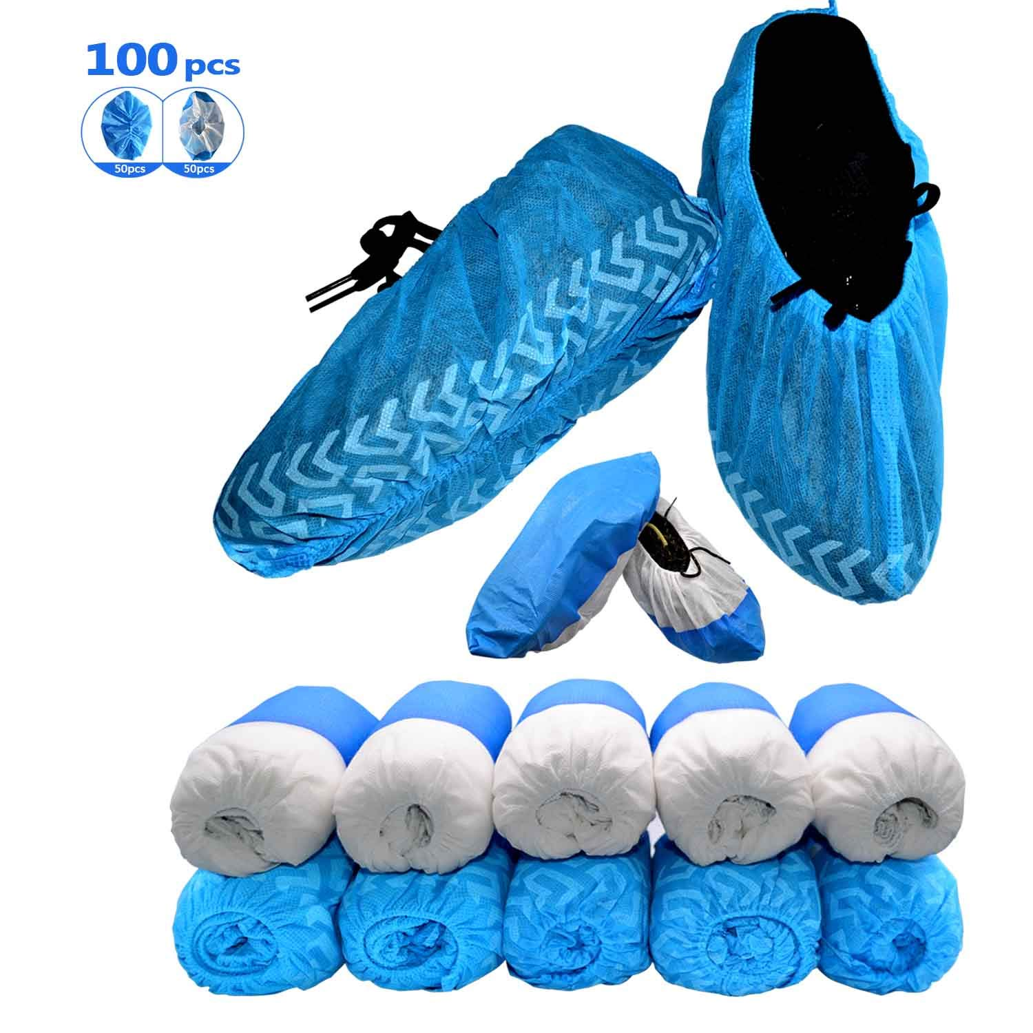 Premium Shoe Covers Disposable &Boot Cover Waterproof, 100 Pack(50Pack Thick Material Dustproof, Non-Toxic, Durable +50Pack Water Resistant)Shoe Covers for Indoors And Outdoor| One Size Fits Most