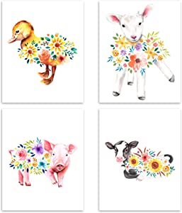 Vogue Homes Baby Farm Animal Prints- Set of 4 (8x10) Unframed Baby Room Decor Prints For Baby Girl Nursery Decor - Farm Nursery Decor Or Floral Nursery Decor- Farm Animal Decor