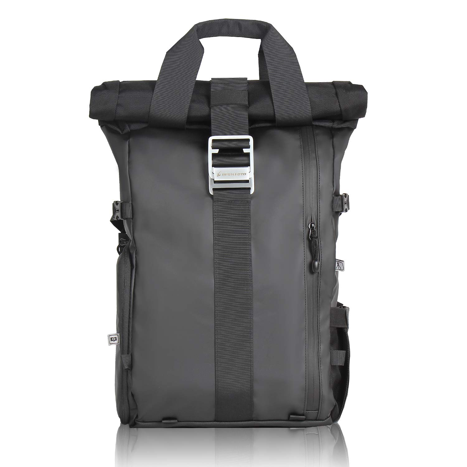 Camera Backpack Rolltop with Laptop Compartment Quick Side Access for DSLR SLR Cameras Removable Padded Shoulder Bag Case for Travel Photography Hiking Rucksack by BESNFOTO (Black) by Besnfoto