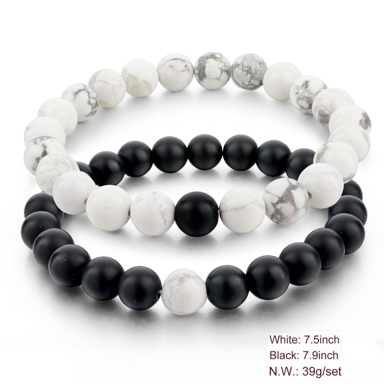 Long Distance Couples Bracelet Black Lava Matte Onyx White Howlite Turquoise Amethyst 8mm Bead Stretch Bracelets Gifts for Couples 24CorSYtR