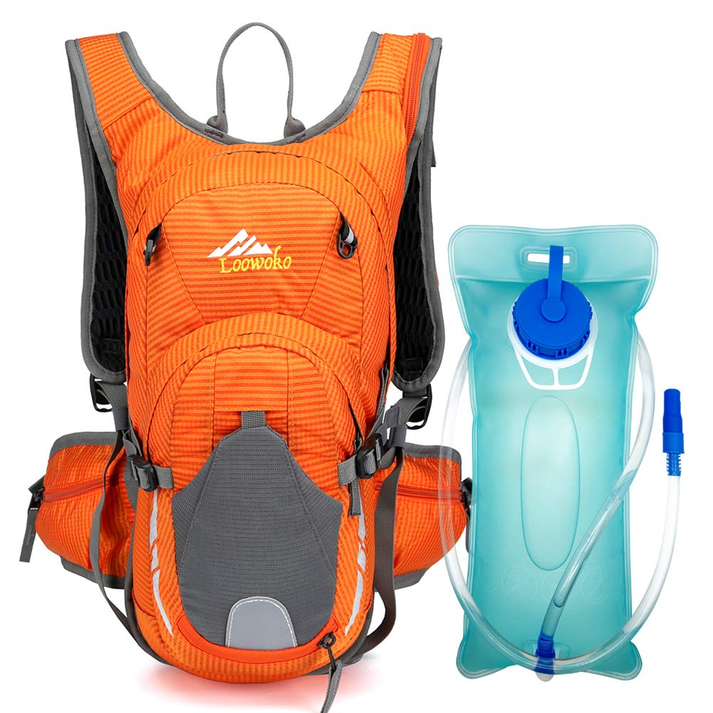 Loowoko 20L Hydration Riding Backpack with 2L Water Bladder, Multiple Pockets Includes Helmet mesh Belt Perfect for Cycling Running Camping Hiking (Orange)