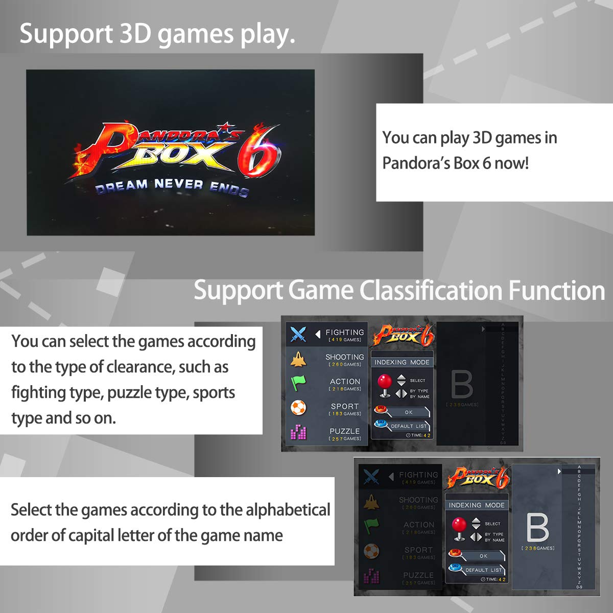 Wisamic Real Pandora's Box 6 Arcade Game Console - Add Additional Games, Support 3D Games, with Full HD, Games Classification, Upgraded CPU, Support PS3 PC TV 2 Players, No Games Included (6 Buttons) by Wisamic (Image #3)