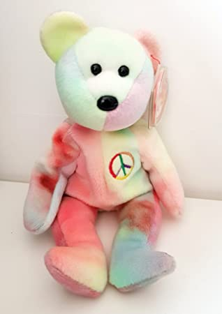 93daf4f35d1 Ty Beanie Babies - Peace The Bear (Rare Pastel Colours)  Amazon.co ...