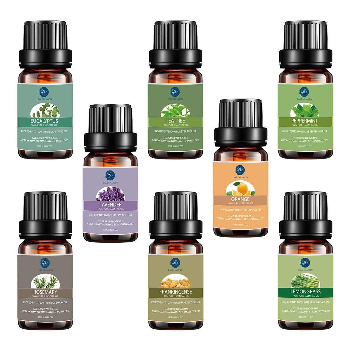 Top 8 Essential Oils Set,Pure Therapeutic Grade Aromatherapy Oils,Lavender,Eucalyptus,Lemongrass,Frankincense,Orange,Rosemary,Peppermint,Tea Tree Essential Oils