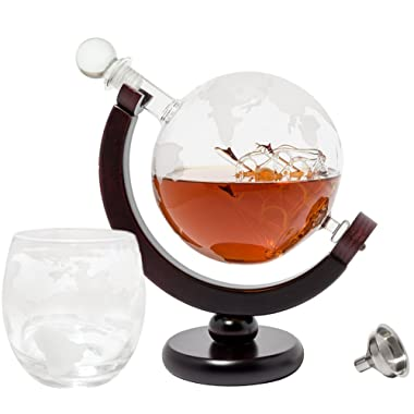 BarMe Globe Decanter Whiskey Decanter with Dark Finished Wood Stand, Bar Funnel & Set of Whiskey Drinking Glasses