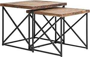 Belmont Home Volos Wood and Metal Nesting Tables (Set of 2), Brown