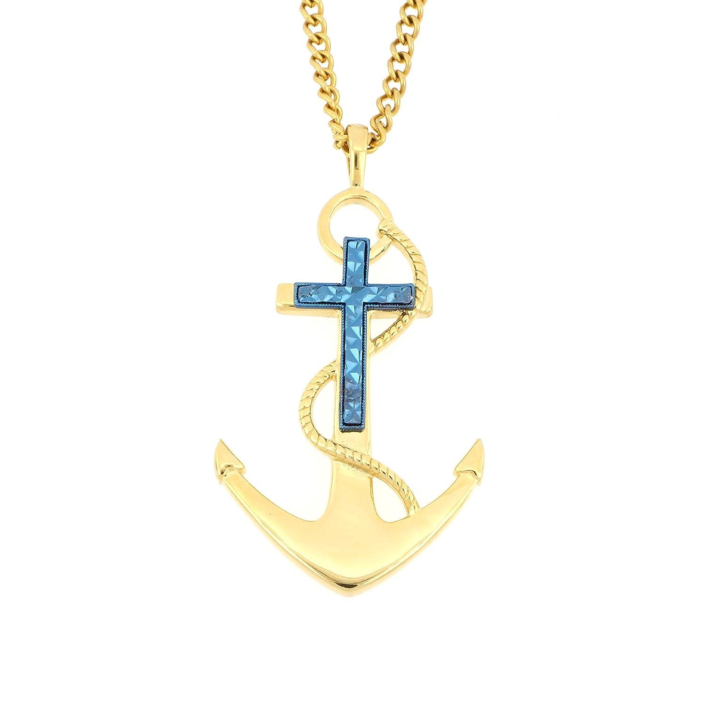 Arrow Jewelry ステンレススチール ゴールド/ブルー ツートーン IP-メッキ 航海 クロスアンカー ダイヤモンドカットのアクセント付き 宗教ペンダント 24インチチェーン B07HXPDR8P