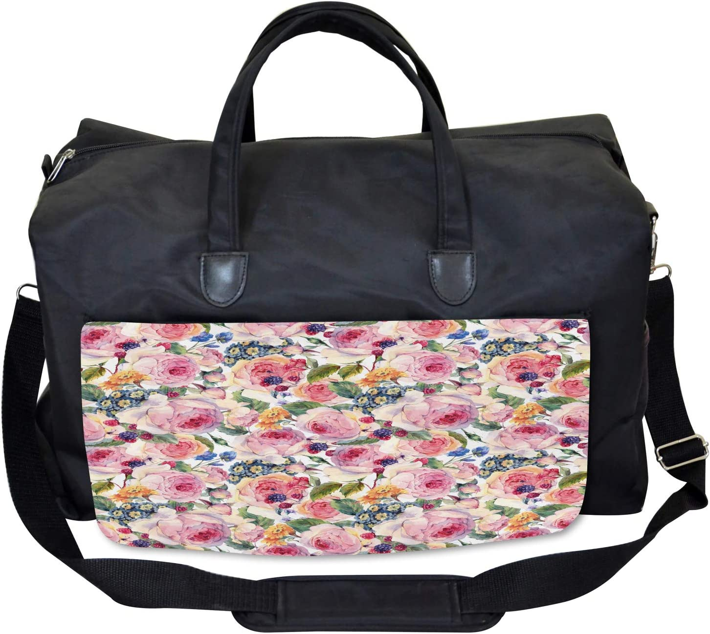 Ambesonne Flowers Gym Bag Shabby Chic Rose Floral Large Weekender Carry-on