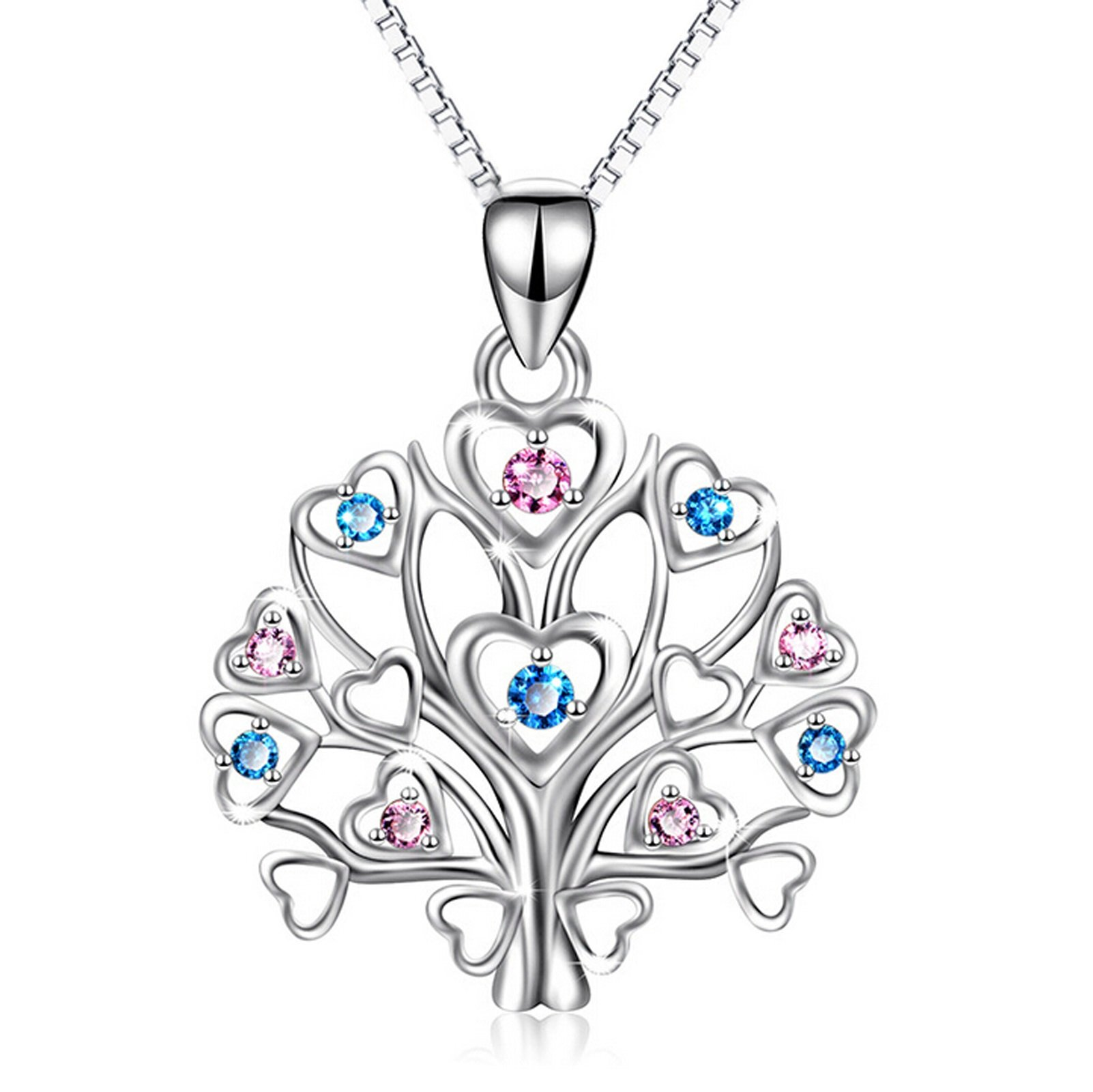 Aienid 925 Sterling Silver Tree of Life Necklace for Women Wedding Necklace Birthstone Jewelry Box Chain