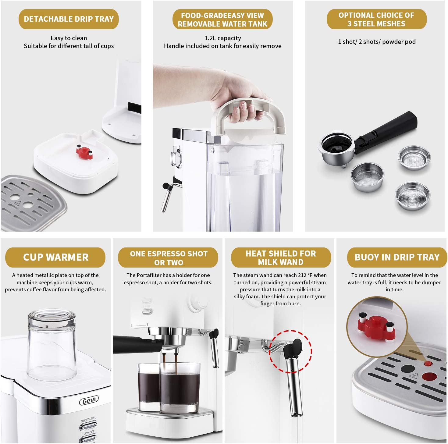 Double Temperature Control System Latte and Mocha 1.2 L Water Tank Espresso Machines Fast Heating Cappuccino Machine 20 Bar with Milk Frother for Espresso White for Home Barista 1350W