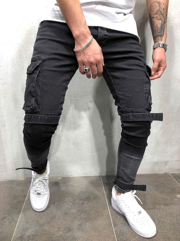 Bmeig Jeans Ajustados Hombre Rotos Pantalones De Mezclilla Elasticos Slim Fit Ripped Desgastados Con Bolsillo Trabajo Hiphop Pantalones De Chandal Cargo Invierno Negro S 4xl Vaqueros Ropa